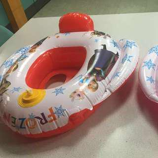 🚚 兒童泳圈 汽車造型方向盤嬰兒游泳圈 冰雪奇緣