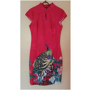 Rose Red Peacock Mini Chinese Dress ~ S - RM28