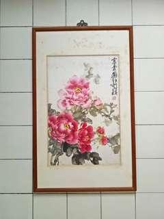 90's Peony flowers Teak Wood Frame Size 96x59cm