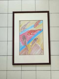 70's Painting Carps Fish With Teak Wood Frame Size 73x51cm