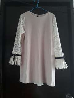Korean tunic lace with ribbon detail 👗👠