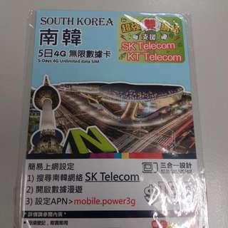 South Korea 南韓 Happy Telecom 5日4G 無限數據