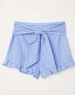 H&M Shorts with ties -Blue and White Checked Ladies