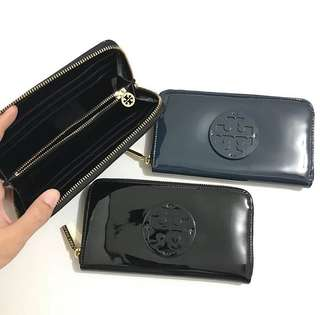 Tb continental zip wallet patent black and Hudson bay