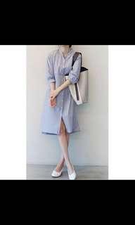 正韓條紋襯衫洋裝