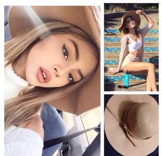 歐美 駝色 遮陽帽 圓帽 裸色 蝴蝶結 大帽沿 防曬 氣質