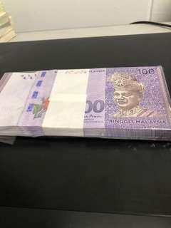 马来西亚钱$100 一百张连号