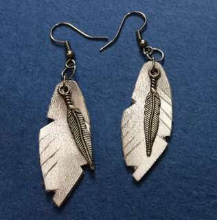 Genuine Leather Feather Earrings with Charm