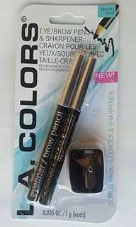 L.A. Colors 2 pcs eyeliner/eyebrow pencil with sharpener