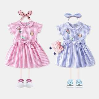 【BABYWEAR】【CLOTHING】【GIRL】PCD00027 BABY GIRL BLUE & PINK STRIPES DRESS