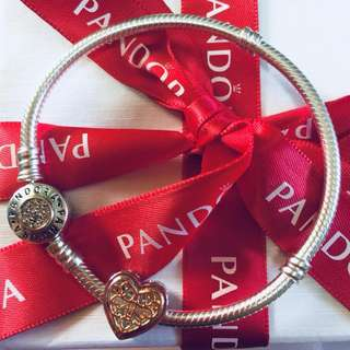 Pandora Locked Hearts Charm with Zirconia Stone Pendant Fitted to Necklace and Bangle Italy Gold