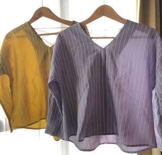 Stripe shirt top atasan