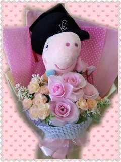 可愛海盗 Peppa Pig 畢業公仔(倣真花束)現貨