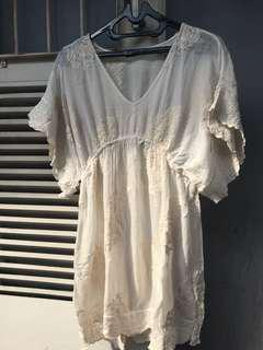 ZARA Embroidered Light Linen Blouse / Dress