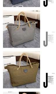 Simple Stream Linen Drawstring Shoulder Bag