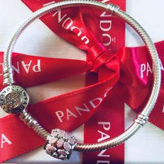 Pandora Pink Flower Charm with Zirconia Stone Pendant Fitted to Necklace and Bangle Italy Gold