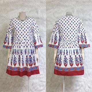 Printed Dress with bell sleeve