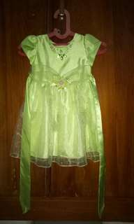 Preloved dress hijau motif kupu2