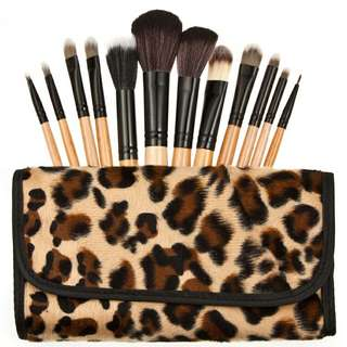 Brush make up 12 set with pouch leopard