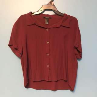 F21 Cropped Maroon Button-Up T-Shirt (Size S)