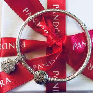 Pandora Authentic Flower Charm with Zirconia Stone Pendant Fitted to Necklace and Bangle Italy Gold