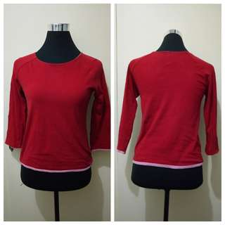 Wa789 Deep Red Three Fourths Sleeves Blouse (see pics for Measurements)