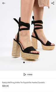 BN Black Espadrille Heels