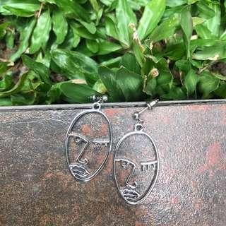 SILVER moonfaced earrings