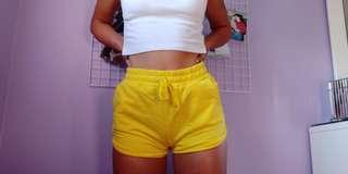 Yellow Cotton Jersey Shorts