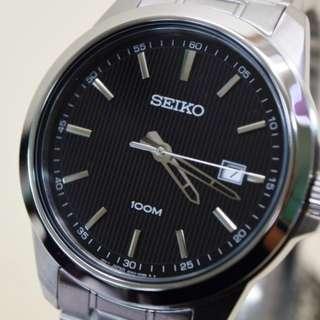 Seiko SUR155P1 Men Neo Classic Black Silver Jam Tangan Pria SUR155