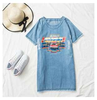 E34046 大碼裝牛仔連衣裙(單色淺藍色)