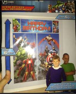 Happy Birthday Avengers Preloved Wall Decoration, bunting and table cloth for just ($10)