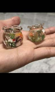 Handmade Miniature : Gold Fishes on glass bowl Tank (Clay&glass)