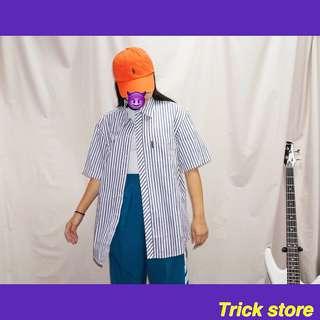 皮爾卡登紫藍線條古著襯衫