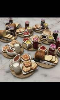 Handmade Miniature : Breakfast Set (Toast Bread, Jam and the drink)