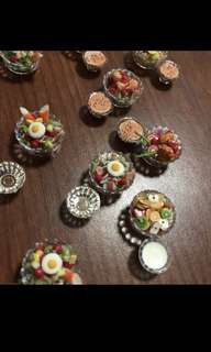 Handmade Miniature :Salad with Sauce in Acrylic Bowl