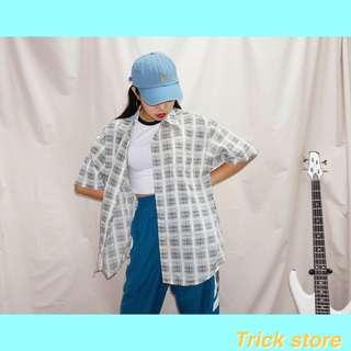 🚚 藍綠黃QQ格子古著襯衫