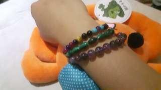 紫鈦 孔雀石 DIY3條手珠套組