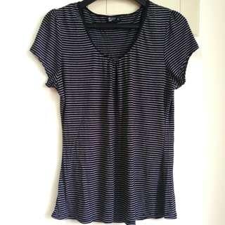 女生短袖T恤條紋T V領上衣