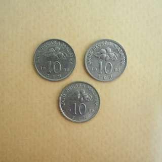 Malaysia old coin 10sen duit lama