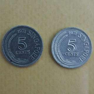 Singapore old coin 5sen duit lama