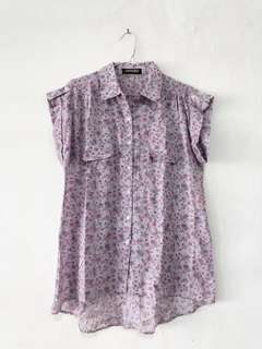 Cute Purple Floral Short-Sleeved Shirt