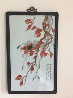 精緻仿舊工瓷板畫:蟬鳴(如相片所示)