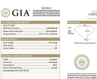 GIA 鑽石 Pear 0.31 E SI2 EX VG N