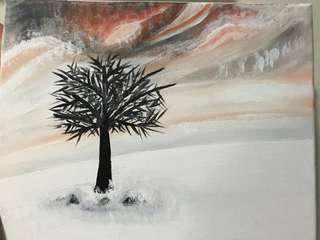 Acrylic painting- tree in winter