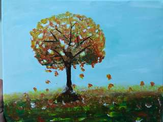 Acrylic painting - tree in Autumn
