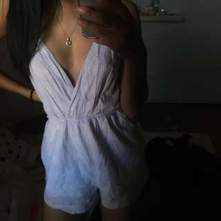 White and light purple striped playsuit