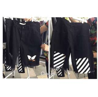 🚚 【Onces.】OFF-WHITE 16SS 黑色刺繡 老鷹 斜紋 牛仔短褲