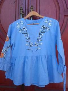 bordir blue top