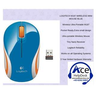 LOGITECH M187 WIRELESS MINI MOUSE BLUE